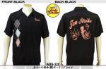 【テンストライク/TEN STRIKE】ホイール柄刺繍ボーリングシャツ ABS-120