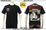 【テンストライク/TEN STRIKE】バイカー柄プリント&刺繍半袖Tシャツ AST-125