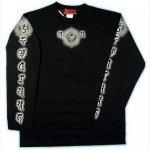【マハースカ/梵字】毘沙門天/長袖Tシャツ MSL-05 白/黒