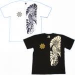 【紅雀】鯉胸割/ミキリ額刺青風Tシャツ TS-04 白/黒