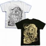 【紅雀】唐獅子胸割り/刺青風Tシャツ TS-21 白/黒