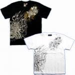【紅雀】牡丹と鳳凰/聖獣Tシャツ TS-24 白/黒