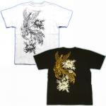 【紅雀】鳳凰と菊/聖獣Tシャツ TS-27 白/黒