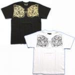 【紅雀】舞踊髑髏と輪入道/妖怪Tシャツ TS-30 白/黒