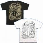 【紅雀】龍の辰干支梵字普賢菩薩Tシャツ TS-35 白/黒