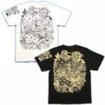 【紅雀】唐獅子胸割/刺青風Tシャツ TS-38 白/黒