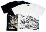 【紅雀】半袖和柄Tシャツ 龍巻き込みプリント(オラオラ系) TS-49 白/黒