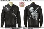 【花旅楽団】抱着髑髏柄刺繍シングルライダースジャケット  品番SLRJ-004 色ブラック
