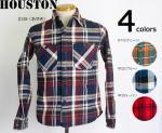 【HOUSTON/ヒューストン】チェックビエラ長袖ワークシャツ 品番4876 4カラー