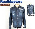 【Real Masters/リアルマスターズ】イーグル刺繍デニムシャツ 品番8329 色:ブルー/ヴィンテージブルー