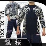 【龍桜】波観音柄抜染七分袖Tシャツ 品番RPT-301 色ブラック/ネイビー