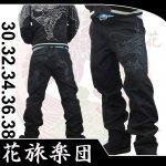 【花旅楽団】巻龍柄刺繍チノパンツ SP-302 ブラック/ベージュ