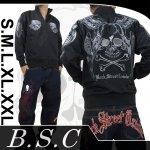 【バックストリートクローラー】ウィングスカル柄刺繍ジップスウェット BSW-201