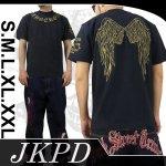 【ジャンキーズパラダイス】ウイング柄刺繍半袖Tシャツ JST-301 色ブラック/ブラウン・ピンク