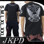 【ジャンキーズパラダイス】ウイングスカル柄刺繍半袖Tシャツ JST-302 色ブラック/ホワイト