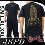 【ジャンキーズパラダイス】マリアクロス柄刺繍半袖Tシャツ JST-303 色ブラック/ブラウン・シルバー