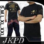 【ジャンキーズパラダイス】トランプスカル柄刺繍半袖Tシャツ JST-304 色ブラック/ホワイト