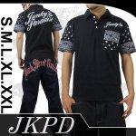 【ジャンキーズパラダイス】ロゴ柄刺繍半袖ポロシャツ JPS-302 色ブラック/ホワイト