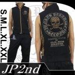 【JP2nd】サークルスカル柄アップリケ刺繍ベスト 2SUV-301 色ブラック