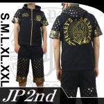 【JP2nd】合掌柄刺繍半袖セットアップ 2SUS-301 色ブラック/ホワイト