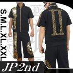 【JP2nd】�柄アップリケ刺繍半袖セットアップ 2SUS-302 色ブラック/ホワイト
