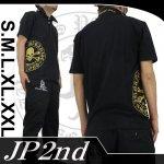 【JP2nd】サークルスカル柄刺繍半袖ポロシャツ 2PS-302 色ブラック/GO・TU