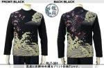【龍桜】荒波に巨鯉柄刺繍&プリント長袖Tシャツ RLT-351 ブラック/ホワイト