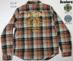 【LOW BLOW KNUCKLE(ローブローナックル)】ロゴ刺繍 チェックネルシャツ 56151