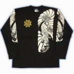 【紅雀】鯉胸割デザイン長袖Tシャツ LT-04 白/黒
