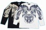 【紅雀】鯉胸割デザイン長袖Tシャツ LT-04-0 白/黒