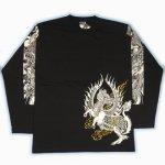 【紅雀】麒麟龍デザイン長袖Tシャツ LT-06 白/黒