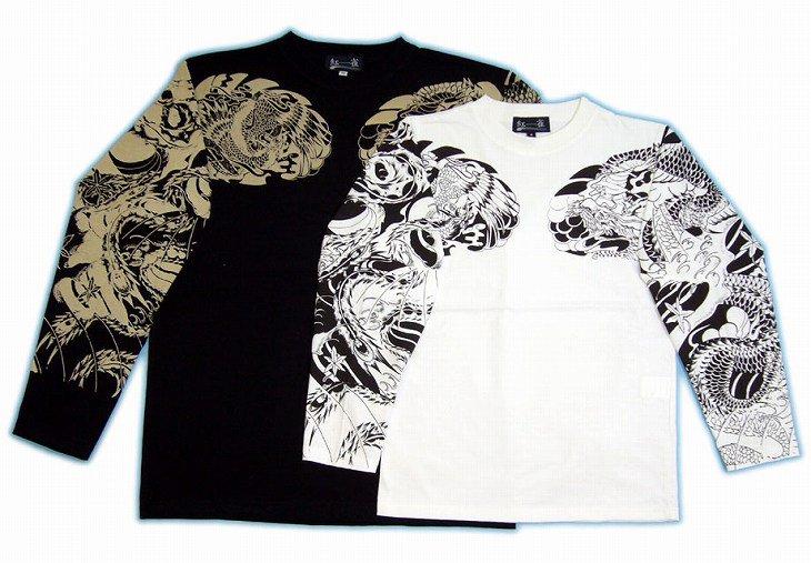 【紅雀】紅雀デザイン長袖Tシャツ LT-16 白/黒