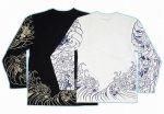 【紅雀】袖総柄波牡丹デザイン長袖Tシャツ LT-18 白/黒
