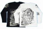 【紅雀】唐獅子胸割りデザイン長袖Tシャツ LT-21 白/黒