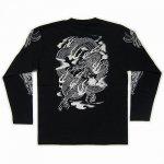 【紅雀】騎龍雷神デザイン長袖Tシャツ LT-29 黒