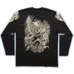 【紅雀】胸割鳳凰酉梵字デザイン長袖Tシャツ LT-36 黒/白