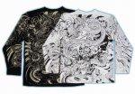 【紅雀】スカル蛇デザイン長袖Tシャツ LT-42 黒/白