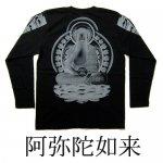 【紅雀】阿弥陀如来デザイン長袖Tシャツ LT-65 黒/白