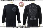 【花旅楽団】千手観音柄刺繍長袖Tシャツ 品番LT-351 色ブラック/グレイ・ゴールド