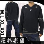 【花旅楽団】月兎柄刺繍Vネック長袖Tシャツ 品番LT-354 色ブラック/ホワイト