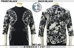 【龍桜】牡丹龍柄抜染七分袖Tシャツ RPT-401 ブラック/ネイビー