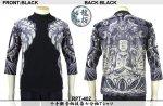 【龍桜】千手観音柄抜染七分袖Tシャツ RPT-402 ブラック/ネイビー