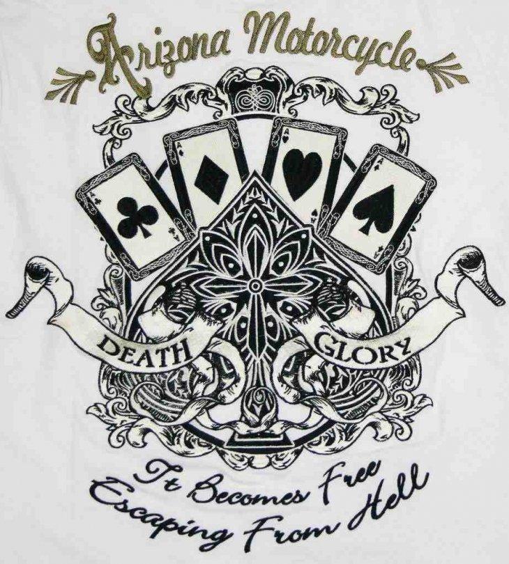 Flag Staffフラッグスタッフトランプエース刺繍半袖tシャツ 442515