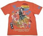 【絡繰魂/抜刀娘】葵柄 和柄半袖Tシャツ 242183 ホワイト・ブラック・ピンク