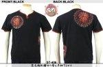 【花旅楽団】花火柄刺繍半袖Tシャツ ST-406 ブラック/アイボリー
