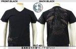 【龍桜】蓮園観音柄刺繍Vネック半袖Tシャツ RVT-401 ブラック/アイボリー
