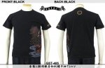 【satori/さとり】糸菊に鯉頭観音柄刺繍半袖Tシャツ GST-405   ブラック/ホワイト