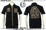 【龍桜】千手観音柄刺繍オープンポロシャツ RPO-401 ブラック/ホワイト