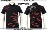 【satori/さとり】桜に般若柄刺繍&抜染ポロシャツ GPS-402 ブラック/ホワイト