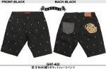 【satori/さとり】梵字柄刺繍5ポケットショートパンツ GHP-402 ブラック/ホワイト